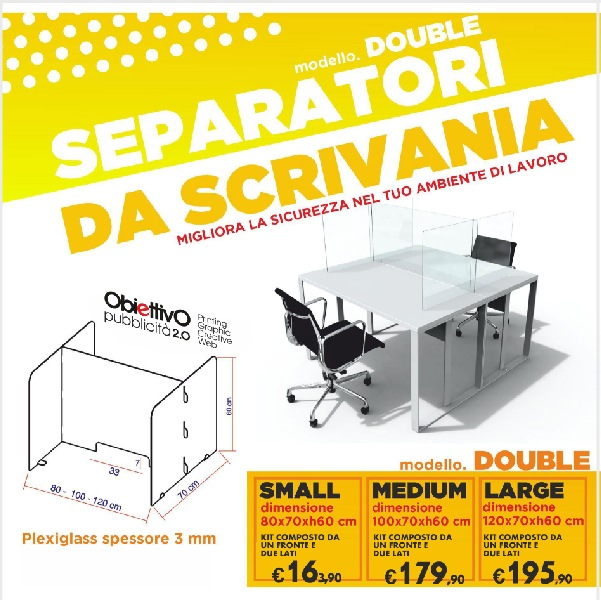 Barriera in plexiglass separatore da scrivania double